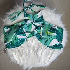Tropical tassle swim top
